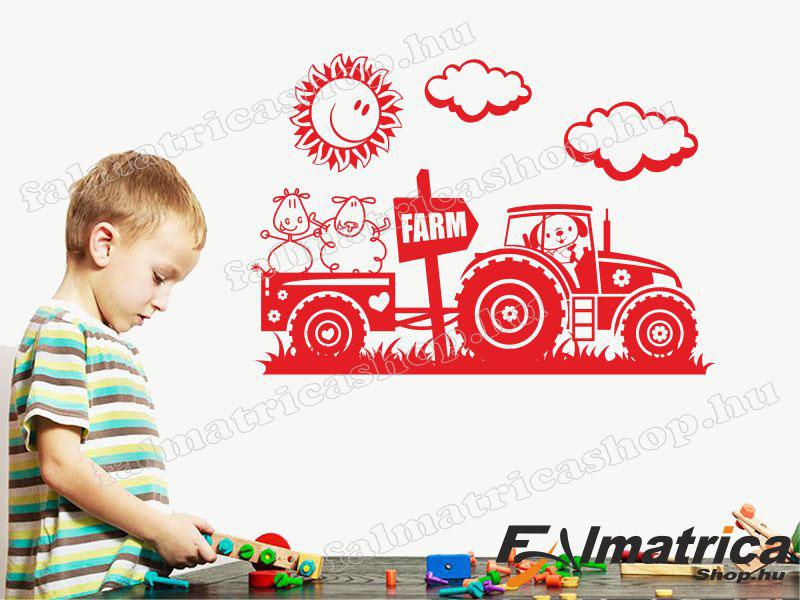 Traktoros falmatrica gyerekszobába