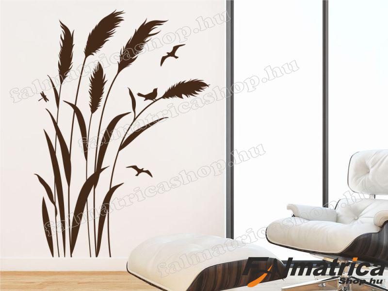 Bambusz - nád falmatrica madarakkal