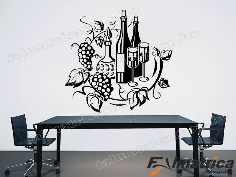 Borok szőlővel falmatrica