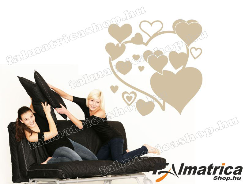 16. Love-szívek falmatrica