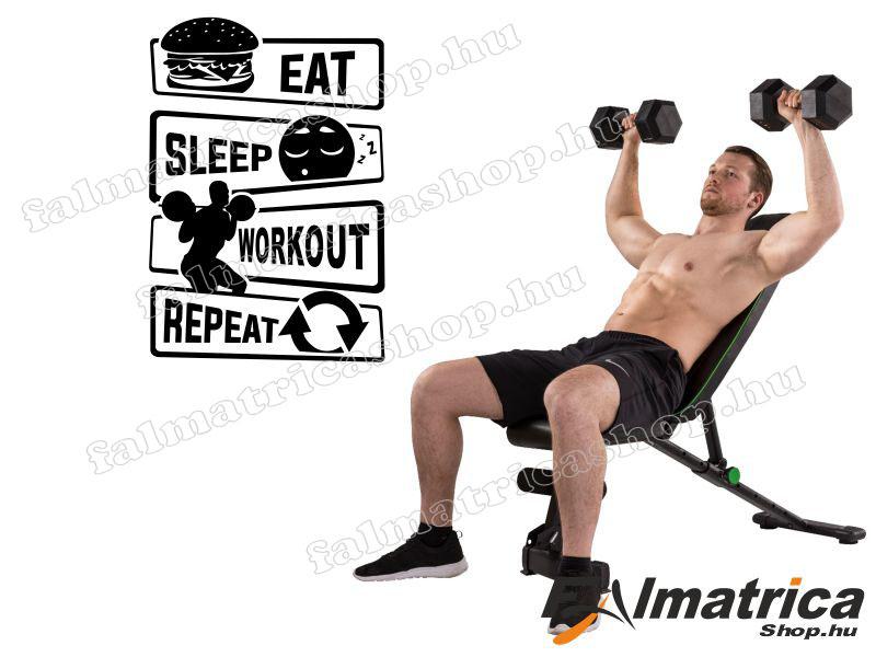 109. Eat, Sleap, Workout edzős falmatrica
