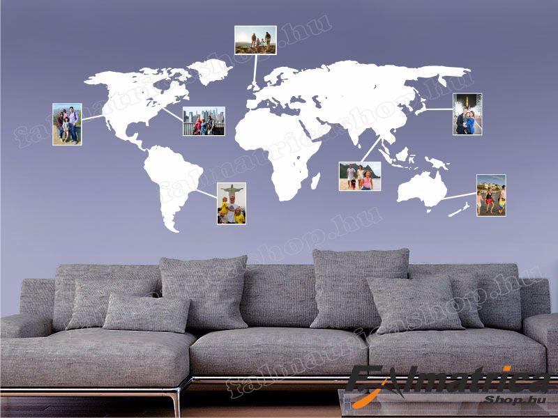 44. Világtérkép falmatrica keretekkel